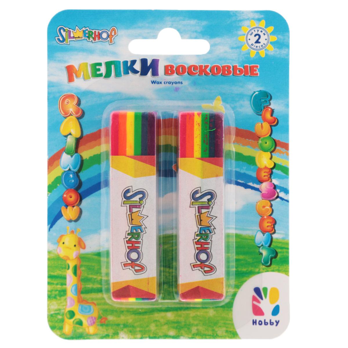 Мелки восковые Silwerhof Rainbow. Hobby, водоустойчивые, 2 шт884070-02Восковые яркие мелки Rainbow. Hobby предназначены для рисования на бумаге, картоне, стекле, пластике и керамике. Водоустойчивые. Предоставляют увлекательное занятие для малыша во время творчества, особенно при рисовании на темной бумаге. В наборе 2 мелка, окрашенных в цвета радуги: бордовый, оранжевый, желтый, зеленый, синий и фиолетовый. На каждом мелке бумажный держатель, который помогает удержать восковой мелок во время рисования. Рекомендовано для детей старше 3-х лет.