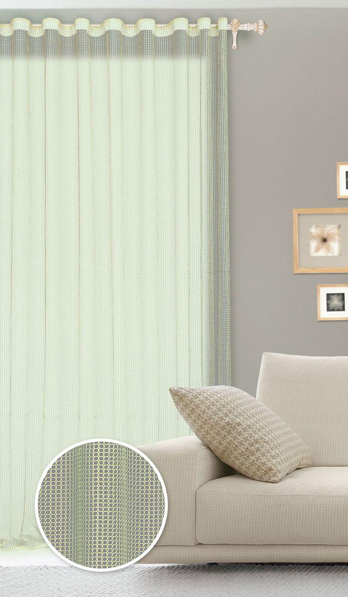 Штора готовая для гостиной Garden, на ленте, цвет: зеленый, размер 300*260 см. С535001V7701С535001V7701Роскошная штора Garden выполнена из сетчатой ткани (100% полиэстера). Материал мягкий на ощупь. Оригинальные дизайн и текстура ткани привлекут к себе внимание и органично впишутся в интерьер помещения. Эта штора будет долгое время радовать вас и вашу семью! Штора крепится на карниз при помощи ленты, которая поможет красиво и равномерно задрапировать верх. Стирка при температуре 30°С.