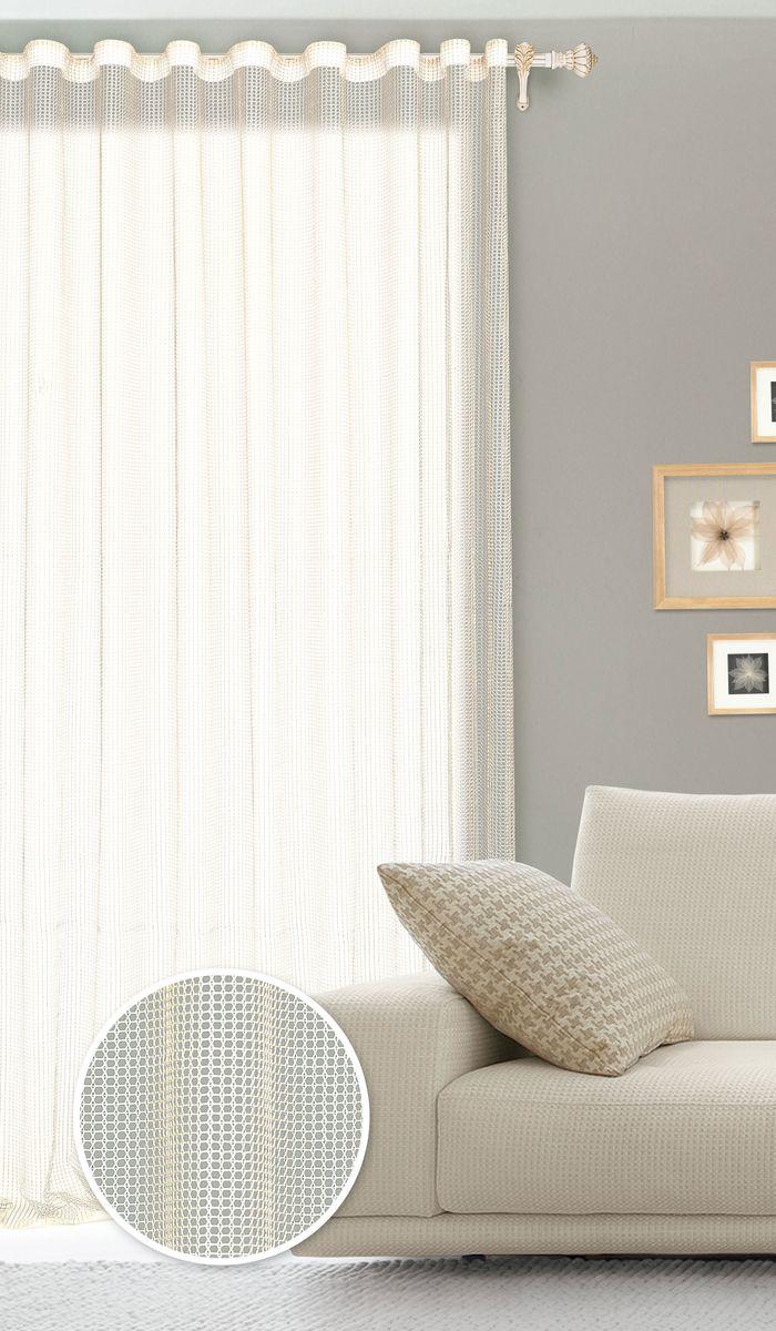 Штора готовая для гостиной Garden, на ленте, цвет: молочный, размер 300*260 см. С 535001 V71002С 535001 V71002Роскошная штора Garden выполнена из сетчатой ткани (100% полиэстера). Материал мягкий на ощупь. Оригинальные дизайн и текстура ткани привлекут к себе внимание и органично впишутся в интерьер помещения. Эта штора будет долгое время радовать вас и вашу семью! Штора крепится на карниз при помощи ленты, которая поможет красиво и равномерно задрапировать верх. Стирка при температуре 30°С.
