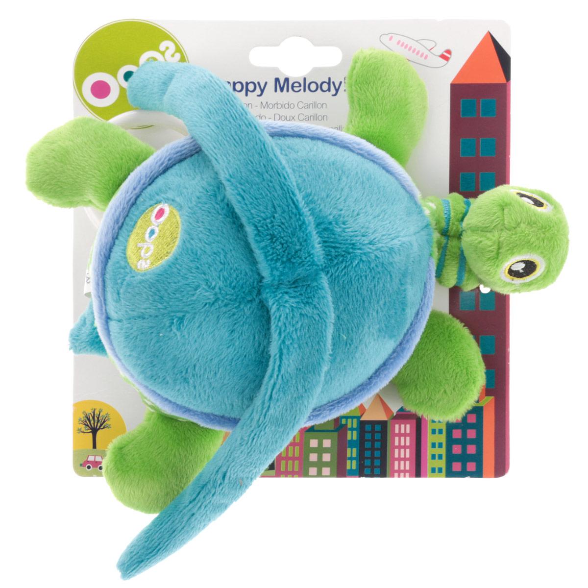Музыкальная игрушка-подвеска OOPS Черепаха. 12002.00O 12002.00Мягкая музыкальная игрушка-подвеска OOPS Черепаха привлечет внимание вашего малыша и не позволит ему скучать. Игрушка выполнена из мягкого текстильного материала разных цветов и фактур в виде симпатичной черепашки. Ее личико вышито, на спинке находятся специальные жгуты, с помощью которых игрушка крепится к кровати или коляски. При нажатии на живот малыш услышит негромкую успокаивающую мелодию, которая поможет ему спокойно заснуть. Благодаря пластиковому кольцу, прикрепленному к черепахе, игрушку можно потянуть вниз и отпустить, она вернется обратно, издавая мелодию. Яркая игрушка-подвеска поможет ребенку в развитии цветового и звукового восприятия, концентрации внимания, мелкой моторики рук, координации движений и тактильных ощущений.