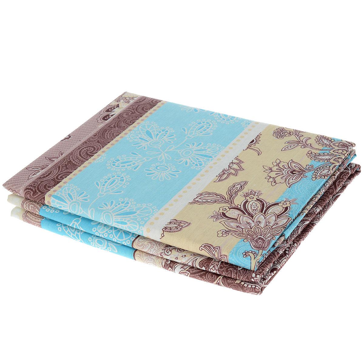 """Комплект белья Олеся """"Летний комплект. Цветочный дождь"""", 2-спальный, наволочки 70х70, цвет: бежевый, голубой"""