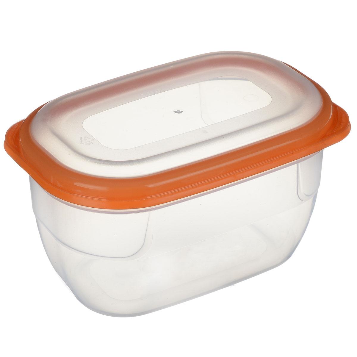 Контейнер для СВЧ Полимербыт Премиум, цвет: прозрачный, оранжевый, 750 млС561 оранжевыйКонтейнер Полимербыт Премиум прямоугольной формы, изготовленный из прочного пластика, предназначен специально для хранения пищевых продуктов. Крышка легко открывается и плотно закрывается. Контейнер устойчив к воздействию масел и жиров, легко моется. Прозрачные стенки позволяют видеть содержимое. Контейнер имеет возможность хранения продуктов глубокой заморозки, обладает высокой прочностью. Можно мыть в посудомоечной машине. Контейнер подходит для использования в микроволновой печи без крышки, а также для заморозки в морозильной камере.