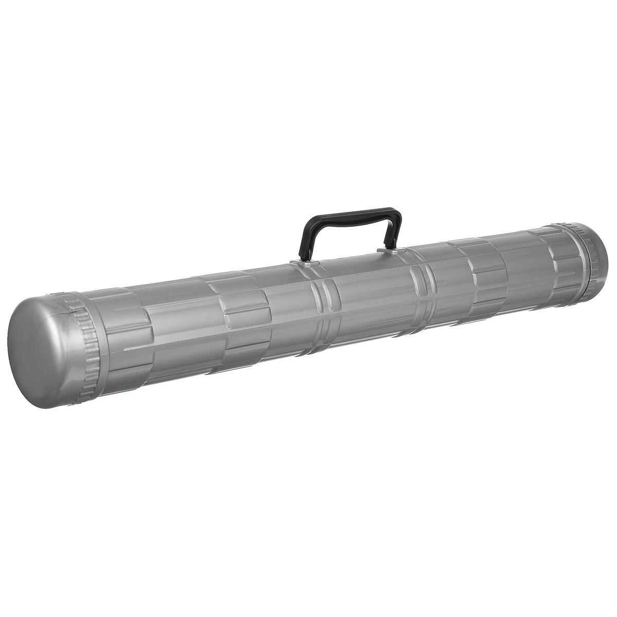 Тубус Стамм, с ручкой, цвет: серый, диаметр 9 смПТ22Стильный тубус Стамм, выполненный в современном эргономичном дизайне, идеально подойдет для хранения и транспортировки чертежей и листов формата А4-А1 (12 листов). Тубус оснащен удобной пластиковой ручкой для переноски и надежными закручивающими боковыми крышечками, обеспечивающими быстрый доступ к чертежам и рисункам. Современный тубус будет незаменим для студентов и офисных работников. Диаметр тубуса: 9 см. Длина тубуса: 68 см.