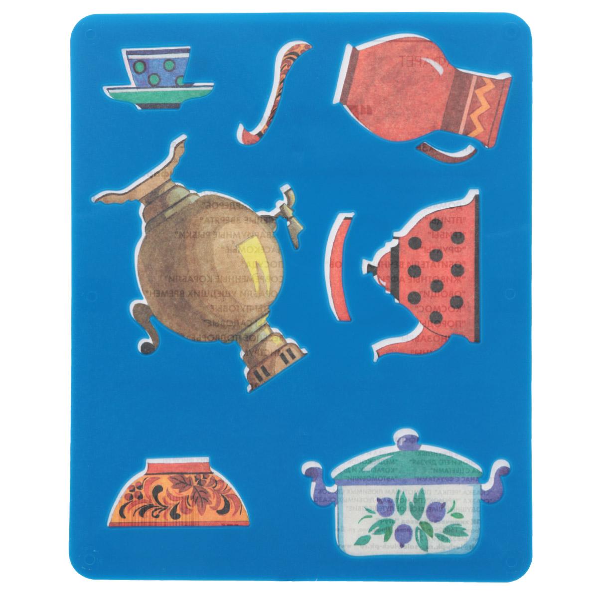 Трафарет прорезной Луч Посуда10С 536-08Трафарет Луч Посуда, выполненный из безопасного пластика, предназначен для детского творчества. По трафарету маленькие художники смогут нарисовать самовар, чайник с чашкой, кастрюлю, тарелку с ложкой и кувшин. Для этого необходимо положить трафарет на лист бумаги, обвести фигуру по контуру и раскрасить по своему вкусу или глядя на цветную картинку-образец. Трафареты предназначены для развития у детей мелкой моторики и зрительно-двигательной координации, навыков художественной композиции и зрительного восприятия.