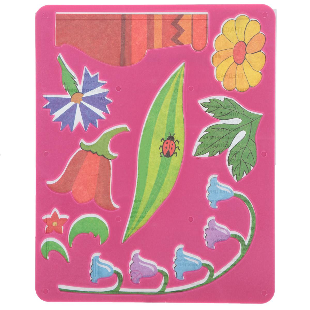 Луч Трафарет прорезной Цветы луговые цвет основы розовый10С 566-08Трафарет Луч Цветы луговые, выполненный из безопасного пластика, предназначен для детского творчества. По трафарету маленькие художники смогут нарисовать красивый букет из луговых цветов и поместить его в вазу. Для этого необходимо положить трафарет на лист бумаги, обвести фигуру по контуру и раскрасить по своему вкусу или глядя на цветную картинку-образец. Трафареты предназначены для развития у детей мелкой моторики и зрительно-двигательной координации, навыков художественной композиции и зрительного восприятия.