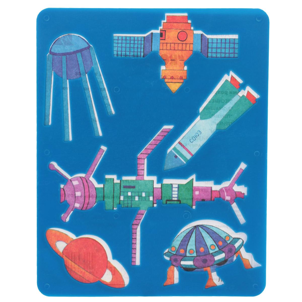 Трафарет прорезной Луч Космос9С 488-08Трафарет Луч Космос, выполненный из безопасного пластика, предназначен для детского творчества. По трафарету Космос маленькие художники смогут нарисовать спутники, ракету, космическую станцию, летающую тарелку и планету Сатурн. Для этого необходимо положить трафарет на лист бумаги, обвести фигуру по контуру и раскрасить по своему вкусу или глядя на цветную картинку-образец. Трафареты предназначены для развития у детей мелкой моторики и зрительно-двигательной координации, навыков художественной композиции и зрительного восприятия.
