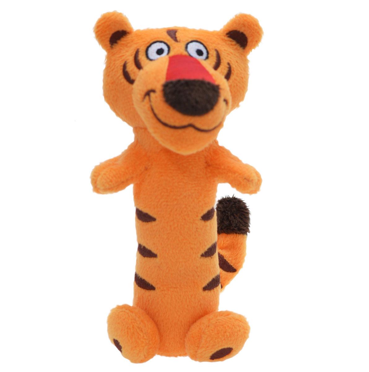 WeeWise Погремушка Тигр40111_тигрПогремушка WeeWise Тигр привлечет внимание малыша и не позволит ему скучать. Погремушка выполнена из высококачественных гипоаллергенных материалов: полиэфирный текстиль и мягкий наполнитель, что делает ее абсолютно безопасной в игре. Игрушка состоит из головы тигра и длинной округлой ножки-держателя с хвостом и лапками. При потряхивании игрушки раздается негромкий звук. Погремушка способствует развитию мышления, координации движений, звукового и цветового восприятия, тактильных ощущений, совершенствует моторику ручек малыша.