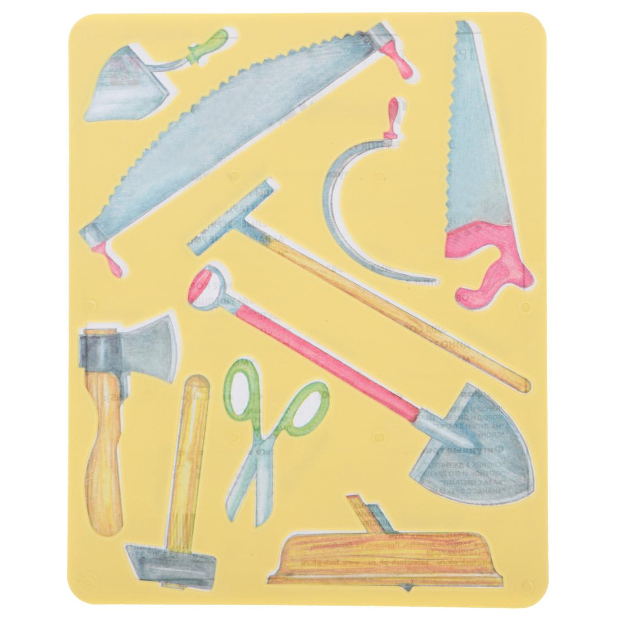 Трафарет прорезной Луч Инструменты10С 569-08Трафарет Луч Инструменты, выполненный из безопасного пластика, предназначен для детского творчества. По трафарету маленькие художники смогут нарисовать различные инструменты. Для этого необходимо положить трафарет на лист бумаги, обвести фигуру по контуру и раскрасить по своему вкусу или глядя на цветную картинку-образец. Трафареты предназначены для развития у детей мелкой моторики и зрительно-двигательной координации, навыков художественной композиции и зрительного восприятия.