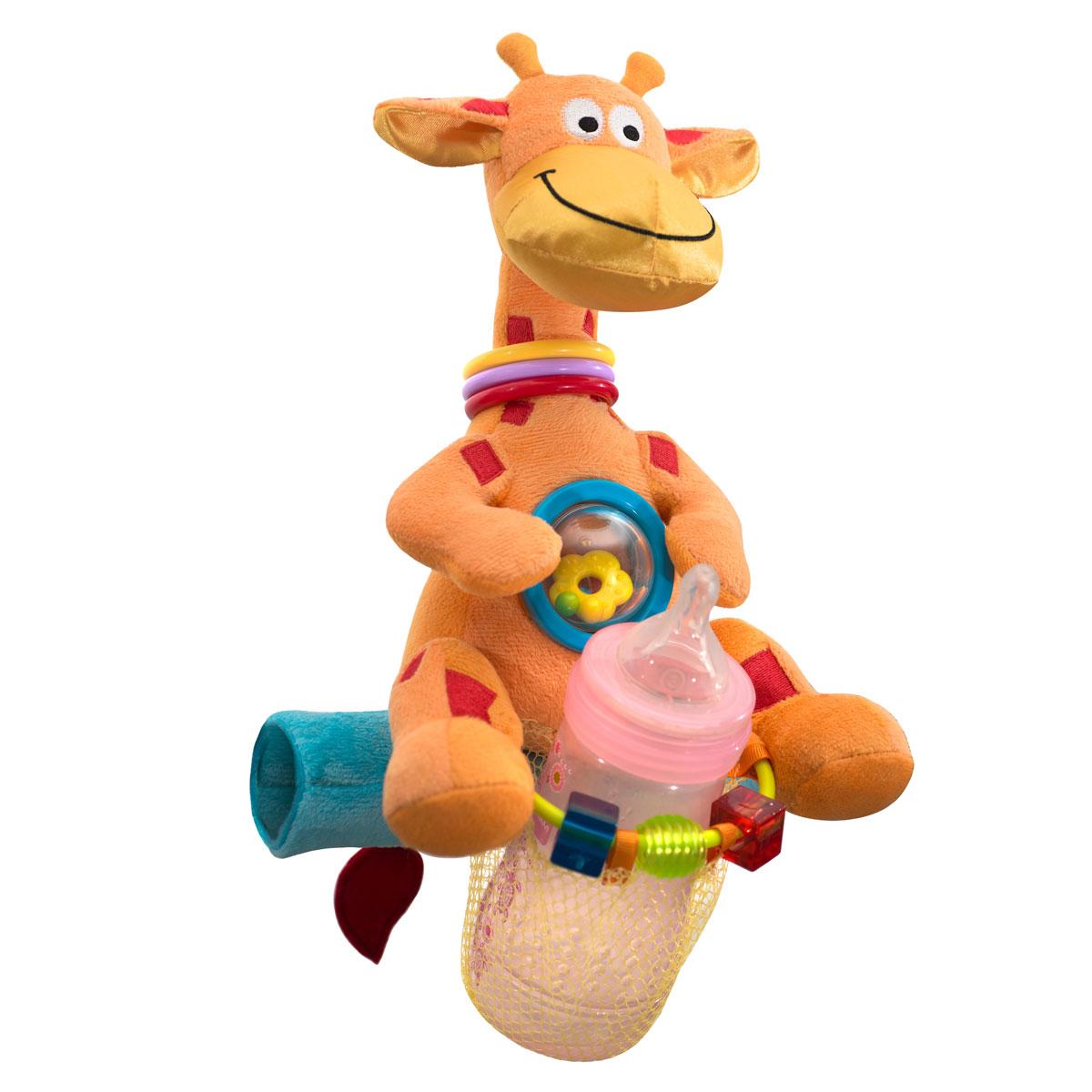 WeeWise Мультиигрушка (Той Бар) для прогулочной коляски Жираф20112Мультиигрушка легко устанавливается на большинстве прогулочных детских колясок. Специальный фиксатор позволяет разместить на ней детскую бутылочку , мультиигрушка снабжена различными погремушками и фигурками. Мультиигрушка способствует развитию зрительного, слухового и тактильного восприятия ребенка, а также тренирует мелкую моторику
