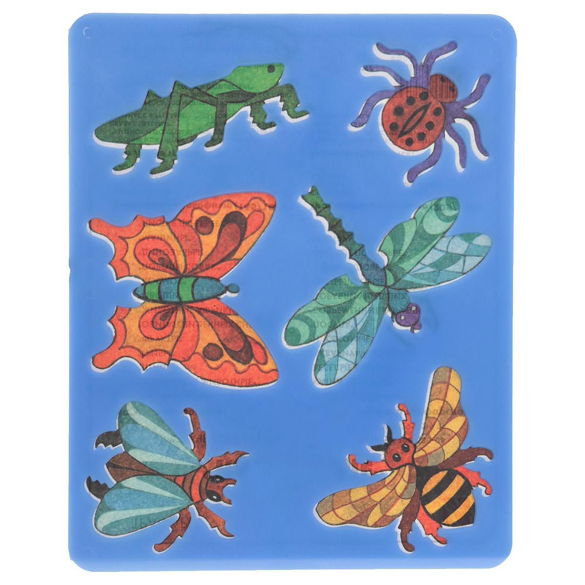 Луч Трафарет прорезной Насекомые цвет синий10С 535-08Трафарет Луч Насекомые, выполненный из безопасного пластика, предназначен для детского творчества. По трафарету маленький художник сможет нарисовать и отдельных насекомых, и сюжетные картинки с ними. Для этого необходимо положить трафарет на лист бумаги, обвести фигуру по контуру и раскрасить по своему вкусу или глядя на цветную картинку-образец. Трафареты предназначены для развития у детей мелкой моторики и зрительно-двигательной координации, навыков художественной композиции и зрительного восприятия.