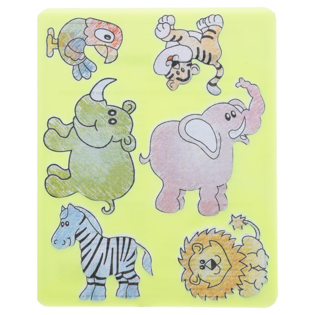 Луч Трафарет прорезной Веселые зверята цвет салатовый10С 530-08Трафарет Луч Веселые зверята, выполненный из безопасного пластика, предназначен для детского творчества. По трафарету Веселые зверята маленький художник сможет нарисовать отдельных животных или целый веселый зоопарк. Для этого необходимо положить трафарет на лист бумаги, обвести фигуру по контуру и раскрасить по своему вкусу или глядя на цветную картинку-образец. Трафареты предназначены для развития у детей мелкой моторики и зрительно-двигательной координации, навыков художественной композиции и зрительного восприятия.
