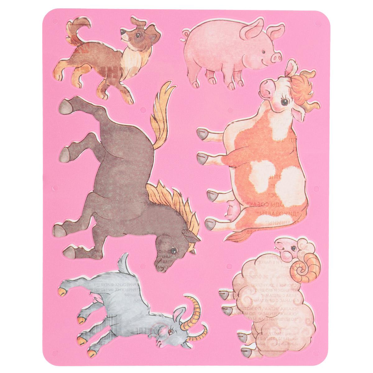 Трафарет прорезной Луч Домашние животные9С 447-08Трафарет Луч Домашние животные, выполненный из безопасного пластика, предназначен для детского творчества. По трафарету маленький художник сможет нарисовать такие виды домашних животных, как корову, лошадь, собаку, свинью, овечку и козу. Для этого необходимо положить трафарет на лист бумаги, обвести фигуру по контуру и раскрасить по своему вкусу или глядя на цветную картинку-образец. Трафареты предназначены для развития у детей мелкой моторики и зрительно-двигательной координации, навыков художественной композиции и зрительного восприятия.