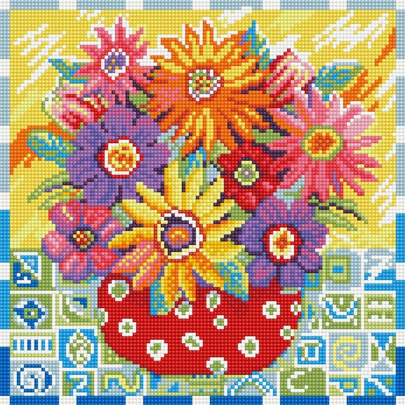 Набор для творчества Алмазная мозаика. Цветики-цветочки, 30 х 30 см291-ST-R Цветики-цветочкиНабор для творчества Алмазная мозаика. Цветики-цветочки поможет вам создать свой личный шедевр - красивую картину, выполненную в мозаичной технике. Каждый камушек выполнен из прочного материала, огранен по типу драгоценных камней и при попадании на грани солнечного или искусственного света образуется мерцающее полотно. Мозаичные картины - это новый вид творчества, который поможет создать прекрасное украшение для вашего дома. В наборе имеется холст с нанесенной схемой. С помощью пинцета стразы размещаются на холст. В результате проявляется рисунок. Для создания картины нужно лишь выложить мозаику по схеме. Вы получите огромное наслаждение от творчества. В набор входит: - основа картины - холст на подрамнике, - комплект круглых искусственных камней, диаметр 2,5 мм, 20 цветов, - пинцет, - пластмассовый лоток для камней, - пластмассовый карандаш для камней, - жидкий клей.