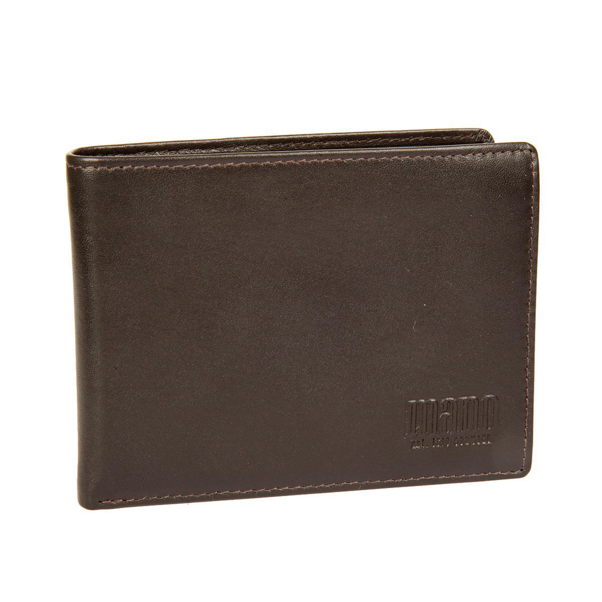 Портмоне мужское Mano, цвет: коричневый. 14660/214660/2 brownСтильное мужское портмоне Mano выполнено из натуральной кожи. Изделие оформлено тиснением с названием производителя. Изделие раскладывается пополам. Портмоне содержит два отделения для купюр, восемь кармашков для визиток и пластиковых карт, карман для мелочи на кнопке, три боковых кармана для документов и сетчатый карман. Портмоне упаковано в фирменную картонную коробку. Такое портмоне станет отличным подарком для человека, ценящего качественные и стильные вещи.