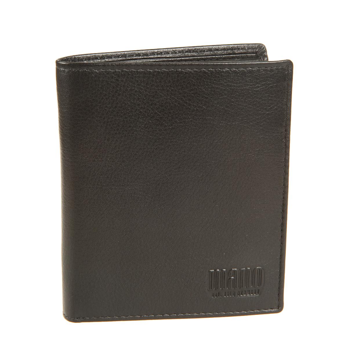 Портмоне мужское Mano, цвет: черный. 14660/514660/5 blackСтильное мужское портмоне Mano выполнено из натуральной кожи. Изделие оформлено тиснением с названием производителя. Изделие раскладывается пополам. Портмоне содержит два отделения для купюр, девять кармашков для визиток и пластиковых карт (один из них сетчатый карман - окошечко), карман для мелочи на кнопке, сетчатый карман, два боковых кармана и один вертикальный карман для документов. Портмоне упаковано в фирменную картонную коробку. Такое портмоне станет отличным подарком для человека, ценящего качественные и стильные вещи.