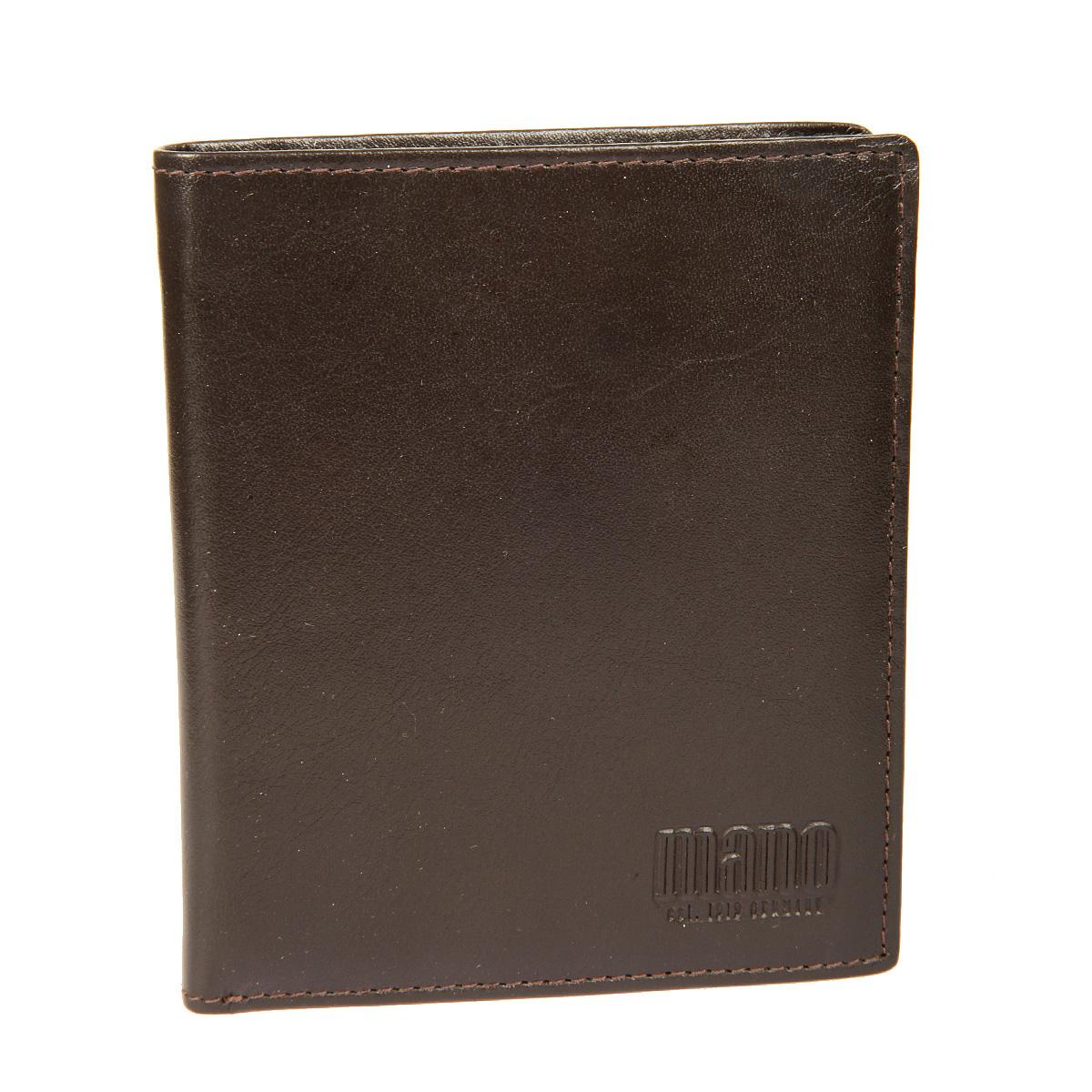 Портмоне мужское Mano, цвет: коричневый. 14660/514660/5 brownСтильное мужское портмоне Mano выполнено из натуральной кожи. Изделие оформлено тиснением с названием производителя. Изделие раскладывается пополам. Портмоне содержит два отделения для купюр, девять кармашков для визиток и пластиковых карт (один из них сетчатый карман - окошечко), карман для мелочи на кнопке, сетчатый карман, два боковых кармана и один вертикальный карман для документов. Портмоне упаковано в фирменную картонную коробку. Такое портмоне станет отличным подарком для человека, ценящего качественные и стильные вещи.