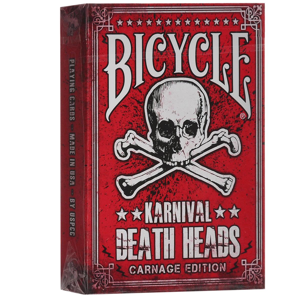 Игральные карты Karnival Death Heads - Big Blind Media, цвет: черный, 56 штК-239Игральные карты Karnival Death Heads - Big Blind Media изготовлены из многослойного картона с пластиковым покрытием, которое сохранит карты от выцветания и изнашивания. В 2011 была выпущена колода, которая до сих пор пользуется невероятной популярностью и, может быть, именно поэтому ее та трудно раздобыть. Но теперь мы с гордостью можем сказать, что наши покупатели тоже смогут получить для себя эту уникальную колоду. Вы получаете всемирно известную колоду в современном качестве USPCC и с невероятным дизайном. Все колоды Karnival произведены по исключительным технологиям, так что вы можете быть уверены, что получаете товар самого высокого качества. Карты имеют классический дизайн и стандартные индексы. Рубашка выполнена в традиционном дизайне Rider Back. Карты идеально подходят для фокусов, пасьянсов и карточных игр. Колода была разработана Сэмом Хейлесом и является эксклюзивной собственностью Bigblindmedia.