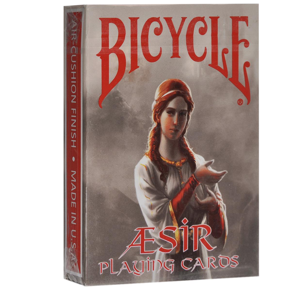 Игральные карты Bicycle AEsir - Боги Викингов, цвет: красный, 56 штК-386Игральные карты Bicycle AEsir - Боги Викингов изготовлены из многослойного картона с пластиковым покрытием, которое сохранит карты от выцветания и изнашивания. За основу этой впечатляющей колоды взяты сказки о скандинавских богах. Каждая карта тщательно прорисована и несет определенный смысл. Идеальный вариант как для новичков, так и для профессионалов. Карты идеально подходят для фокусов, пасьянсов и карточных игр.