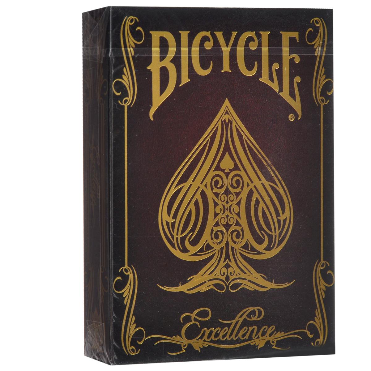 Игральные карты Bicycle Excellence - Совершенство, цвет: коричневыйК-447Игральные карты Bicycle Excellence - Совершенство изготовлены из многослойного картона с пластиковым покрытием, которое сохранит карты от выцветания и изнашивания. Колода из серии премиальных карт, специально выпускаемых заводом. Для изготовления этой колоды использовались лучшие материалы и передовые технологии в производстве игральных карт. Идеальный вариант как для новичков, так и для профессионалов. Карты идеально подходят для фокусов, пасьянсов и карточных игр. Для настоящих ценителей.