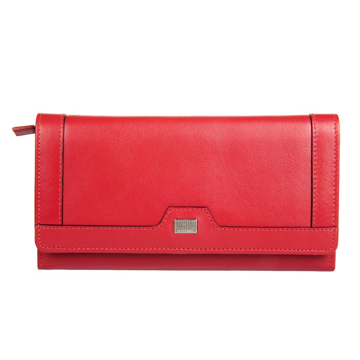 Портмоне женское Mano, цвет: красный. 2010020100 SETRU redСтильное женское портмоне Mano выполнено из натуральной кожи и декорировано металлической эмблемой в виде логотипа бренда. Модель закрывается клапаном на кнопку. Внутри имеется отделение для купюр, разделенное пополам карманом-средником на застежке- молнии, пришивной карман, двадцать отделений для пластиковых и визитных карточек, один из них с сетчатой вставкой и потайной карман. Внешняя задняя сторона дополнена пришивным карманом для документов с отделением на застежке-молнии для мелочи. Портмоне упаковано в фирменную картонную коробку. Такое портмоне станет стильным аксессуаром, который прекрасно дополнит образ.