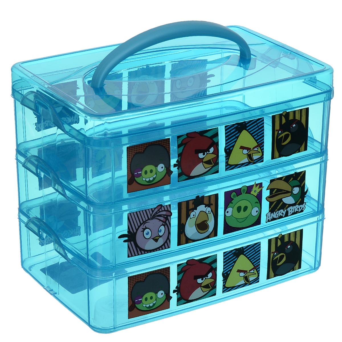 Коробка универсальная Angry Birds, цвет: синий, 24,5 х 16 х 8 см, 3 ячейкиС13010Коробка Angry Birds выполнена из высококачественного цветного пластика и состоит из трех ячеек одинакового размера. Это отличное место для хранения небольших детских игрушек, материала для рукоделия, различных аксессуаров. Она декорирована изображениями героев популярной игры Angry Birds. Коробка легко открывается, оснащена специальной пластиковой ручкой и не требует особого ухода. Благодаря малым габаритом, коробка занимает очень мало места. Коробка Angry Birds - идеальное решение для аккуратного хранения вещей. Размер ячейки: 24,5 см х 16 см х 8 см.
