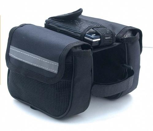 Сумка велосипедная Larsen, 16 см х 13 см х 11 смCX-ZB009Велосипедная сумка Larsen выполнена из высококачественного прочного полиэстера. В ней можно перевозить инструменты, а также небольшие личные вещи. Крепится на велосипедную раму. Сумка имеет 2 отделения и 3 кармана.