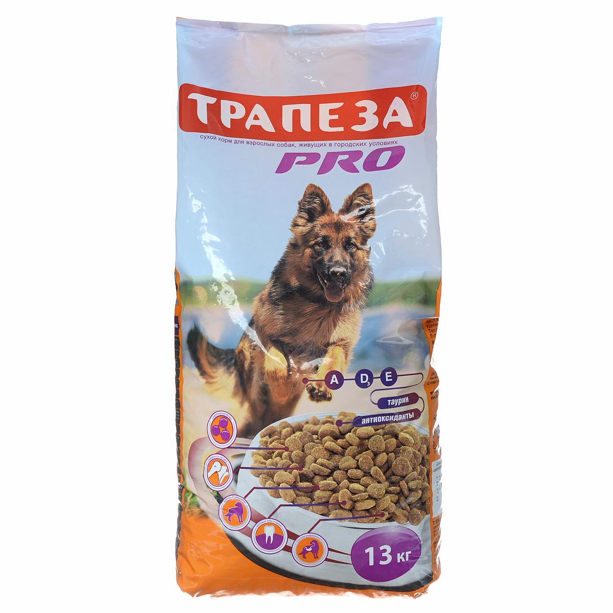 Корм сухой Трапеза Pro для собак с повышенной активностью, 13 кг59889Корм Трапеза Pro - полноценный, сбалансированный сухой корм для взрослых собак, произведенный из сырья высокого качества. Состав корма специально разработан для кормления рабочих и служебных собак, а также собак с повышенным уровнем повседневной активности. Правильный уровень витаминов группы B благотворно влияют на кожу и шерсть животного, а оптимальное соотношение витаминов Е и С помогает укреплению иммунной системы. Благодаря содержащимся в корме белкам и жирам животного происхождения, собака получает все необходимые для полноценной здоровой жизни питательные вещества, которые максимально усваиваются и поддерживают вашу собаку в отличной форме. Кроме того, в корме Трапеза Pro содержится таурин, незаменимый для поддержания зрения и работы сердечно-сосудистой системы и, благодаря своим антиоксидантным свойствам, оказывает стабилизирующее действие на мембраны нервных клеток. Корм Трапеза Pro снижает риск возникновения аллергических реакций у...