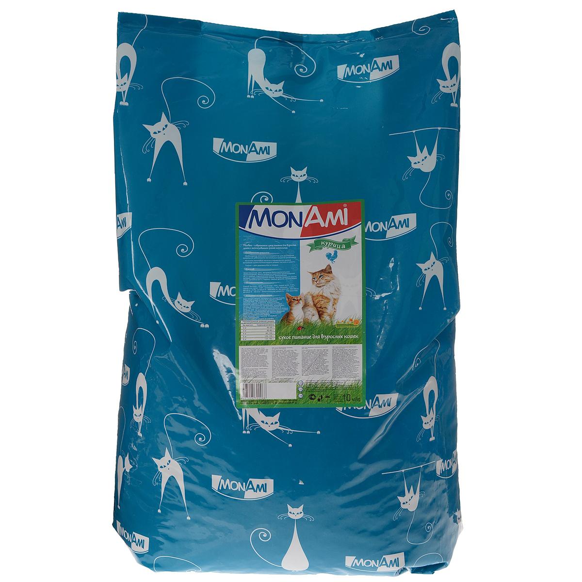 Корм сухой Mon Ami для взрослых кошек, с курицей, 10 кг14195Корм Mon Ami - это современное сухое питание для взрослых кошек с использованием лучших технологий. Особенности рациона: - необходимое сочетание ингредиентов для достижения правильной усвояемости питательных веществ организмом; - источник линолевой кислоты и правильного уровня витаминов группы B благотворно влияют на кожу и шерсть; - таурин - для здоровья глаз и сердца. Состав: злаки (пшеница, рис), экстракты белка растительного происхождения, мясо и мясопродукты животного происхождения (в том числе курица), подсолнечное масло, минеральные добавки, гидролизированная печень, пульпа сахарной свеклы (жом), витамины (в том числе таурин), пивные дрожжи, антиоксидант. Питательность: сырой протеин 30%, сырой жир 10%, сырая зола 7%, сырая клетчатка 2,5%, влажность 10%, кальций 1,05%, фосфор 0,9%, витамин A: 5000 ME/кг, витамин Д3: 500 МЕ/кг, витамин Е: 30 мг/кг. Энергетическая ценность: 333 ккал/100 г. Товар сертифицирован.