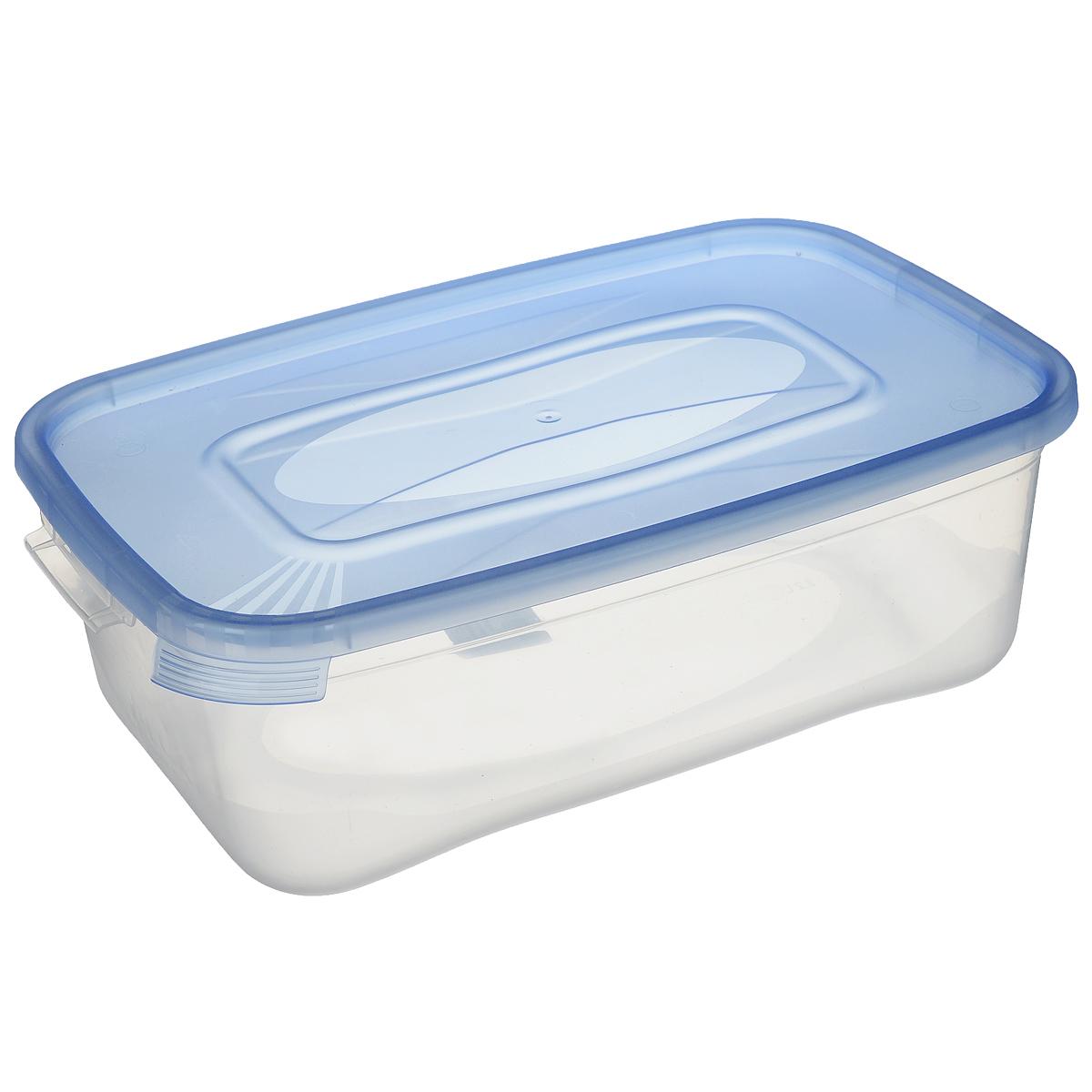 Контейнер для СВЧ Полимербыт Каскад, цвет: прозрачный, голубой, 2,2 лС590 голубойКонтейнер Полимербыт Каскад прямоугольной формы, изготовленный из прочного пластика, предназначен специально для хранения пищевых продуктов. Крышка легко открывается и плотно закрывается. Контейнер устойчив к воздействию масел и жиров, легко моется. Прозрачные стенки позволяют видеть содержимое. Контейнер имеет возможность хранения продуктов глубокой заморозки, обладает высокой прочностью. Подходит для использования в микроволновых печах. Можно мыть в посудомоечной машине.