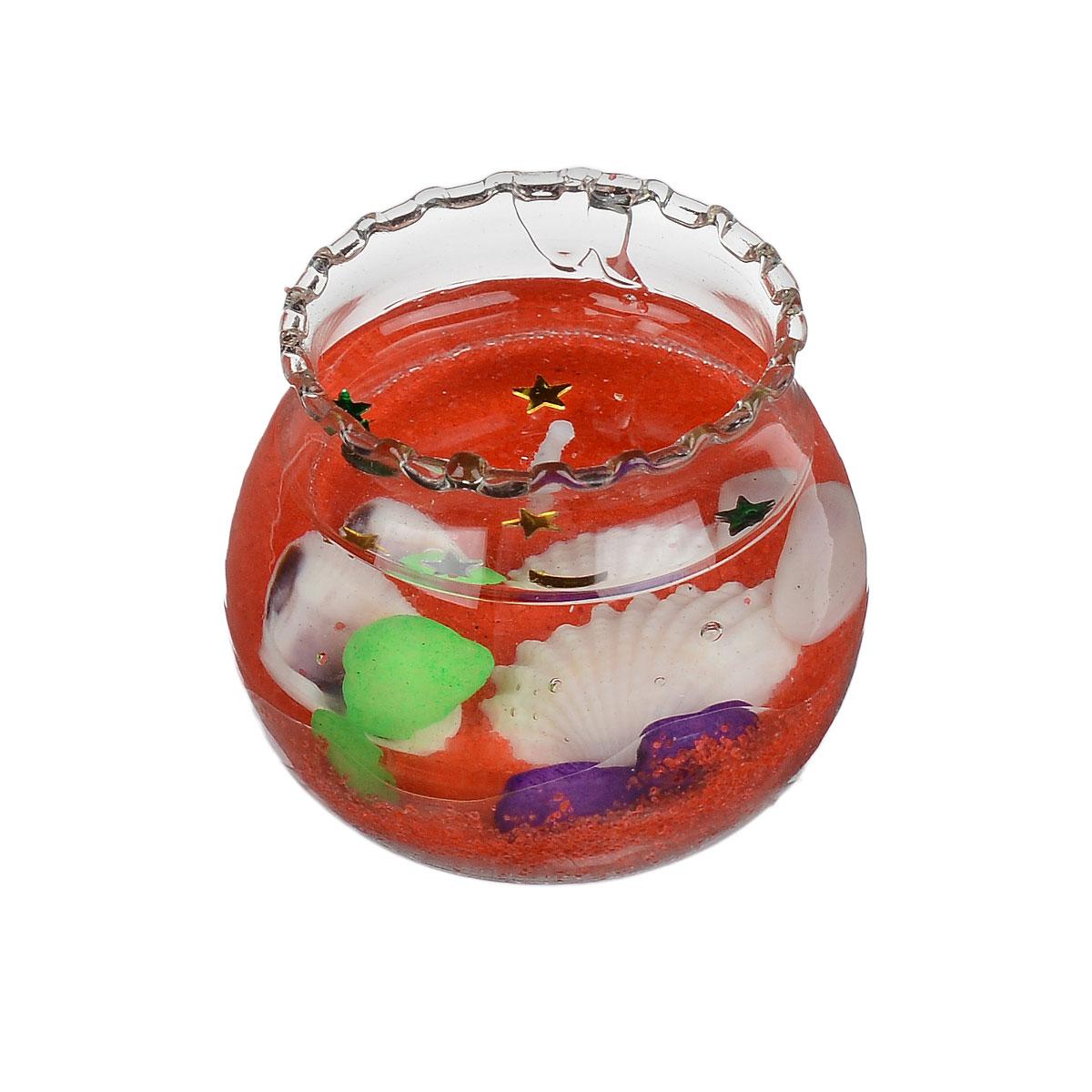 Свеча декоративная Sima-land Вазочка, цвет: красный, высота 3,5 см182348Декоративная свеча Sima-land Вазочка изготовлена из геля и расположена в небольшой стеклянной емкости, которая наполнена цветным песком и ракушками. Изделие порадует вас своим дизайном. Такая свеча может стать отличным подарком или дополнить интерьер вашей комнаты.