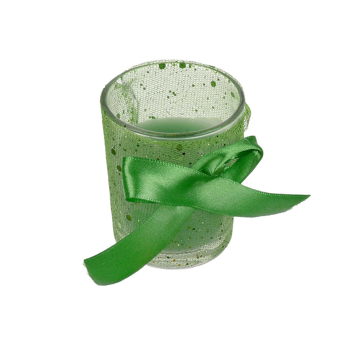 Свеча ароматизированная Sima-land Нежность, высота 6,5 см899625Ароматизированная свеча Sima-land Нежность изготовлена из воска и расположена в стеклянном стакане, украшенном сеткой с блестками и текстильным бантом. Изделие отличается оригинальным дизайном и приятным ароматом зеленого яблока. Такая свеча может стать отличным подарком или дополнить интерьер вашей комнаты.
