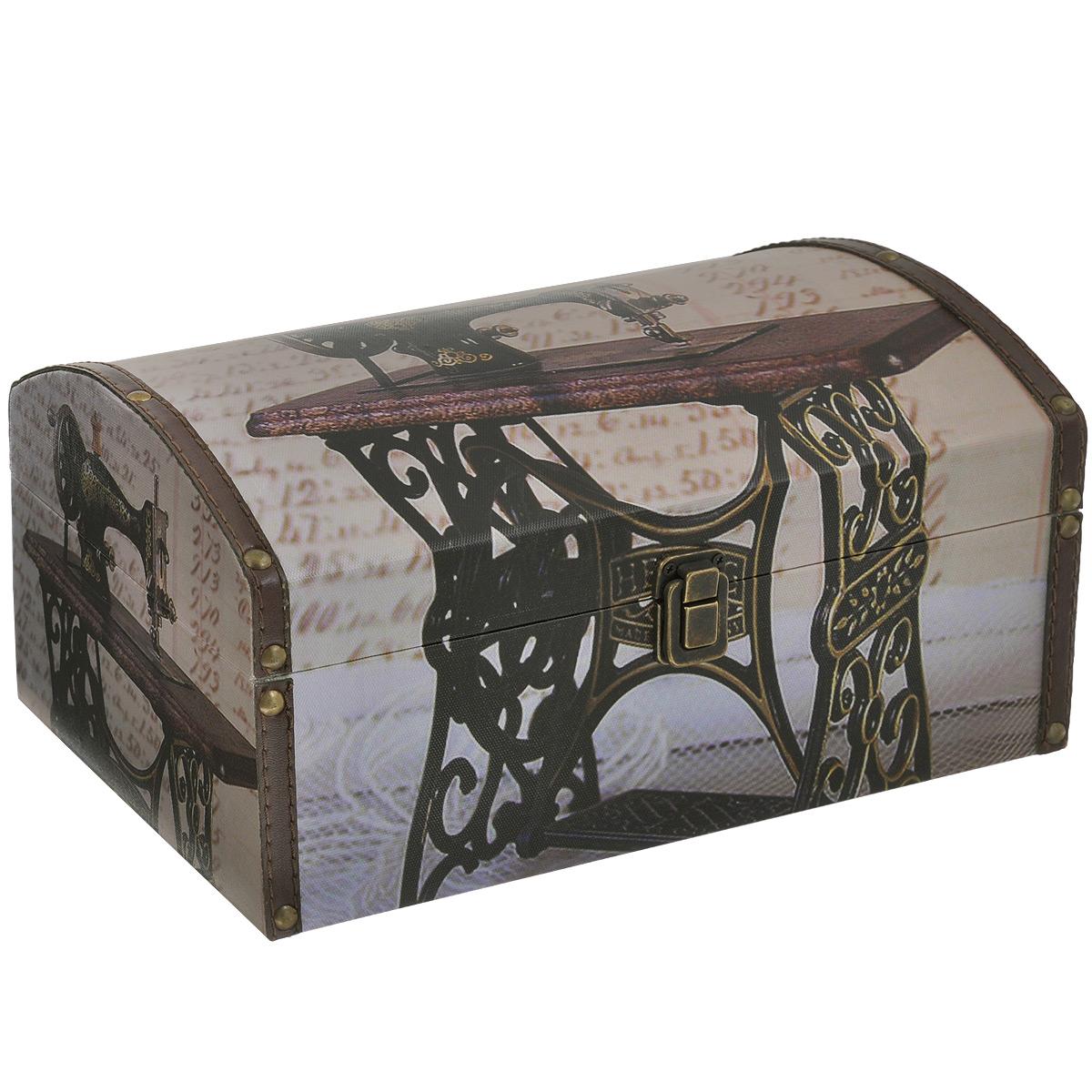 Шкатулка для рукоделия Швейная машинка, цвет: коричневый, бежевыйTL4029LR4Шкатулка Швейная машинка изготовлена из МДФ, картона и холщовой ткани и оснащена крышкой. Изделие декорировано изображением швейной машинки. Крышка закрывается на металлический замочек-защелку. Внутри шкатулка обтянута тканью коричневого цвета. Изящная шкатулка с ярким дизайном предназначена для хранения мелочей, принадлежностей для шитья и творчества и других аксессуаров. Она красиво оформит интерьер комнаты и поможет хранить ваши вещи в порядке.