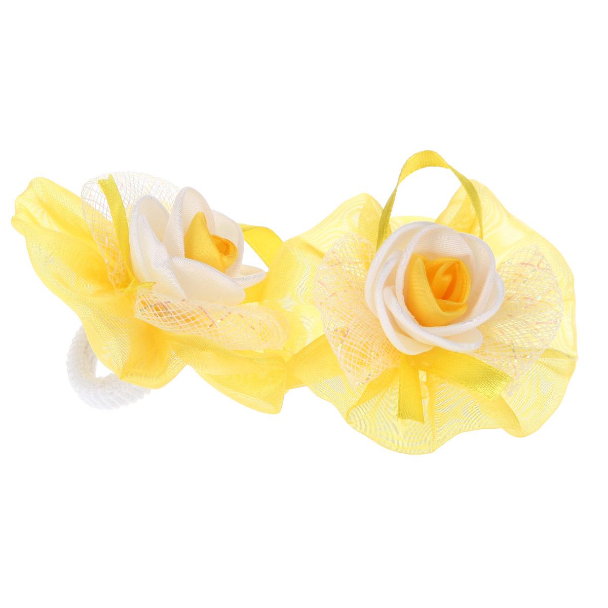 Набор резинок для волос 'Baby's Joy', цвет: желтый, белый, 2 шт. AL 970