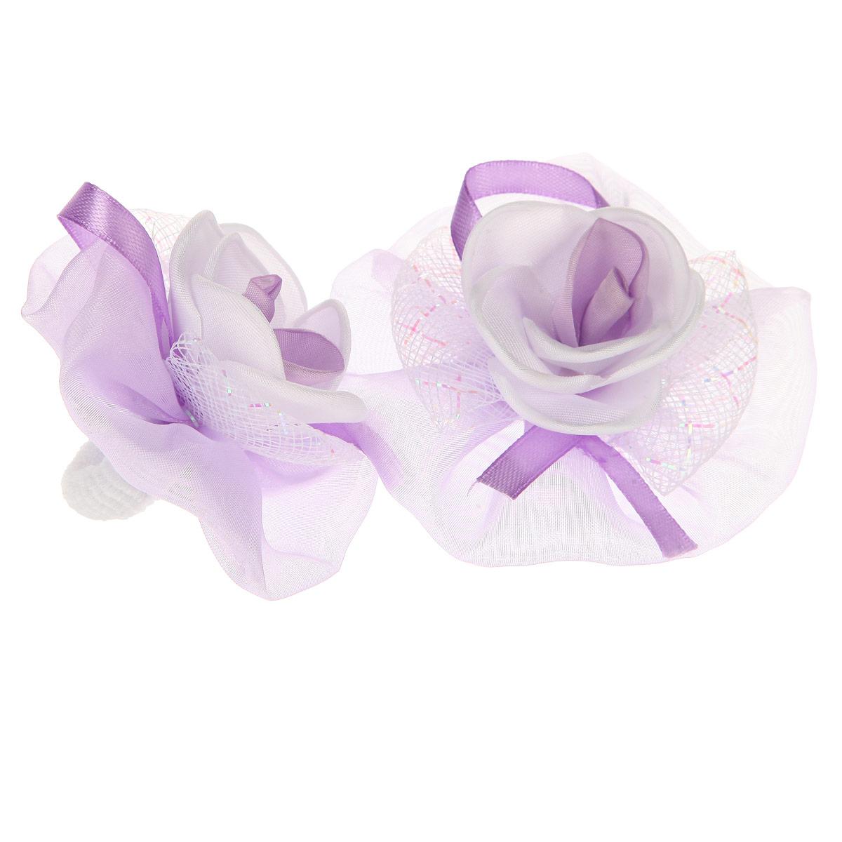 Набор резинок для волос 'Baby's Joy', цвет: фиолетовый, белый. AL 970