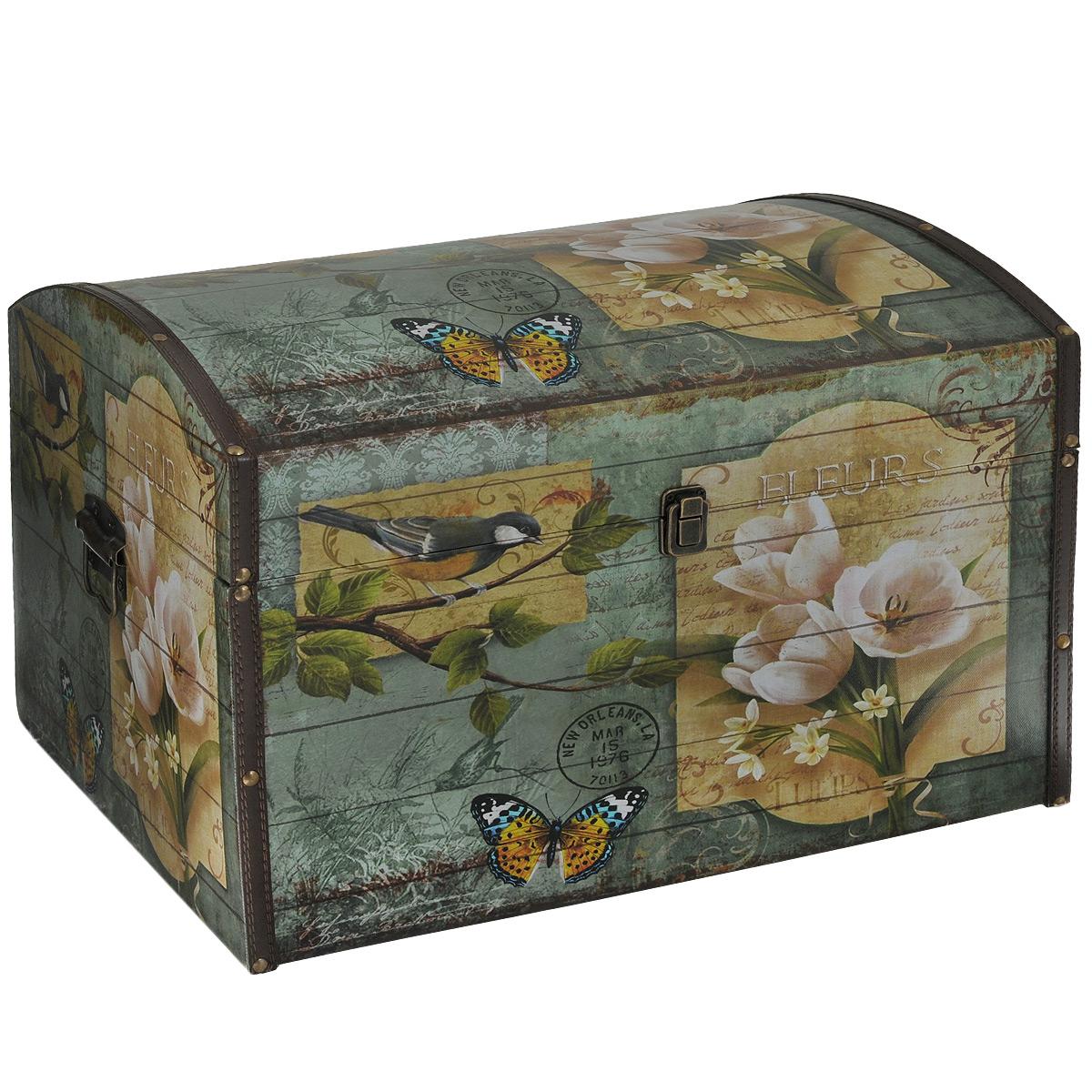 Шкатулка для рукоделия Весна 3, цвет: зеленый, светло-коричневыйTL3867LШкатулка Весна 3 изготовлена из МДФ, картона и холщовой ткани и оснащена откидной крышкой. Изделие декорировано изображением цветов, бабочки и птицы. Крышка закрывается металлическим замочком-защелкой. Внутри шкатулка обтянута тканью коричневого цвета. По бокам имеются металлические ручки для удобной переноски. Изящная шкатулка с ярким дизайном предназначена для хранения мелочей, принадлежностей для шитья и творчества и других аксессуаров. Она красиво оформит интерьер комнаты и поможет хранить ваши вещи в порядке.
