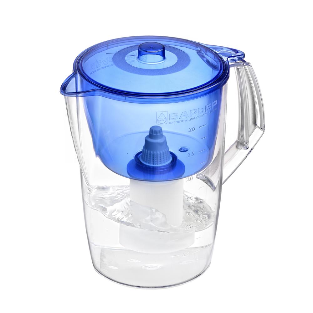 Фильтр-кувшин Барьер Лайт, цвет: синийВ061Р00Недорогая модель фильтра-кувшина подойдет для семьи из трех человек. Отфильтрует за раз до 6 стаканов воды. Особенности фильтра: Уникальная конструкция воронки с защитой от попадания неочищенной воды и пыли Кувшин изготовлен из высококачественного пластика BASF, допущенного для контакта с питьевой водой В стандартной комплектации поставляется в продажу со сменной кассетой Барьер Классик