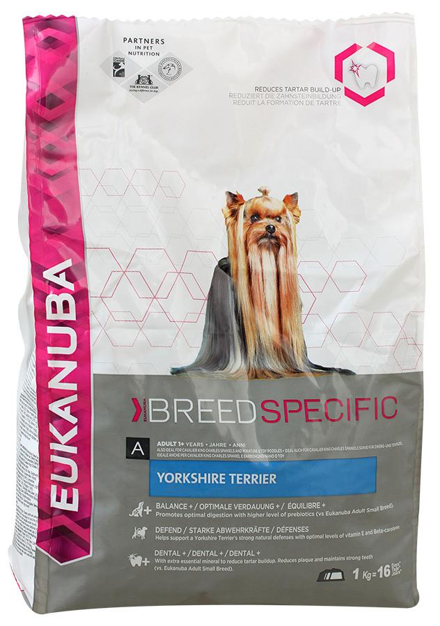 Корм сухой Eukanuba для взрослых собак породы йоркширский терьер, 1 кг81074844Сухой корм Eukanuba является полноценным сбалансированным питанием, специально разработанным для взрослых собак породы йоркширский терьер, а также подходящий для кормления собак пород кавалер-кинг-чарльз спаниель, ши-тцу, карликовых и той-пуделей. Йоркширский терьер - это маленькая, уверенная в себе и преданная хозяину собака, которая ценится за длинную шелковистую шерсть, не имеющую подшерстка. Поэтому ее кожа и шерсть требуют особой заботы. Также особого внимания требует ее зубная система ввиду типичного для данной породы размера пасти. Не содержит искусственных красителей и ароматизаторов. Содержит разрешенные ЕС антиоксиданты (токоферолы). Корм Eukanuba заботится о здоровье вашего любимца. Особенности корма Eukanuba: - важный антиоксидант поддерживает естественную защиту организма вашего питомца; - пребиотики и пульпа сахарной свеклы способствуют поддержанию здорового пищеварения путем обеспечения нормального функционирования...
