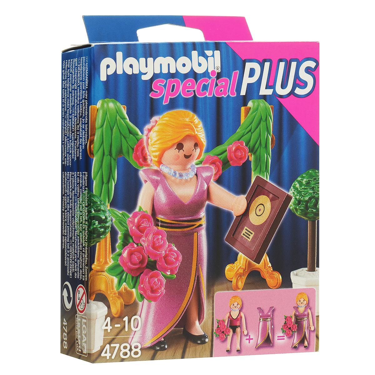 Playmobil Игровой набор Знаменитость с наградой4788pmИгровой набор Playmobil Знаменитость с наградой обязательно понравится вашей малышке. Он выполнен из безопасного пластика и включает фигурку в виде знаменитой певицы, награду и букет для нее и другие аксессуары для игры. У фигурки подвижные части тела; в руках она может удерживать предметы. Певица позирует перед телекамерами с наградой и букетом от поклонников. По такому случаю сцену украсили гирляндой и растениями в кадках. Ваш ребенок с удовольствием будет играть с набором, придумывая веселые истории. Рекомендуемый возраст: от 4 до 10 лет.