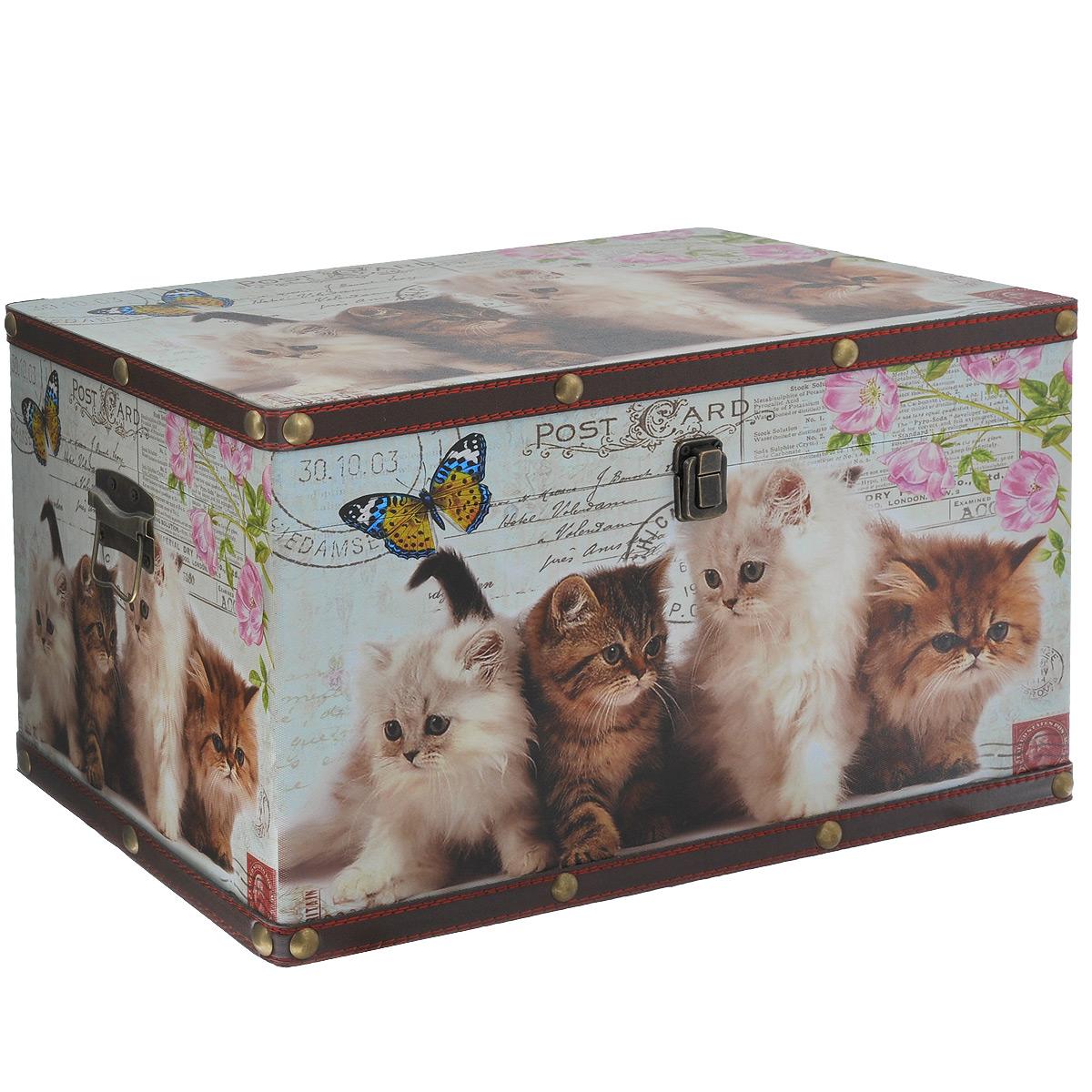 Шкатулка для рукоделия Забавные котята, цвет: коричневый, белый, серыйTL3868MШкатулка Забавные котята изготовлена из МДФ, картона и холщовой ткани и оснащена крышкой. Изделие декорировано изображением котят. Крышка закрывается на металлический замочек-защелку. Внутри шкатулка обтянута тканью коричневого цвета. Изящная шкатулка с ярким дизайном предназначена для хранения мелочей, принадлежностей для шитья и творчества и других аксессуаров. Она красиво оформит интерьер комнаты и поможет хранить ваши вещи в порядке.