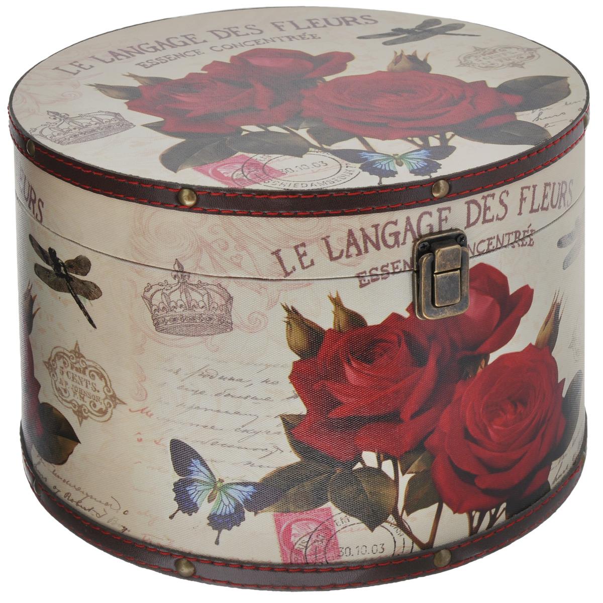 Шкатулка для рукоделия Розы, цвет: бежевый, красныйTL4073MКруглая шкатулка Розы изготовлена из МДФ, картона и холщовой ткани и оснащена крышкой. Изделие оформлено изображением цветов, бабочки и стрекозы. Крышка закрывается на металлический замок-защелку. Внутри шкатулка обтянута тканью коричневого цвета. Изящная шкатулка с ярким дизайном предназначена для хранения мелочей, принадлежностей для шитья и творчества и других аксессуаров. Она красиво оформит интерьер комнаты и поможет хранить ваши вещи в порядке.