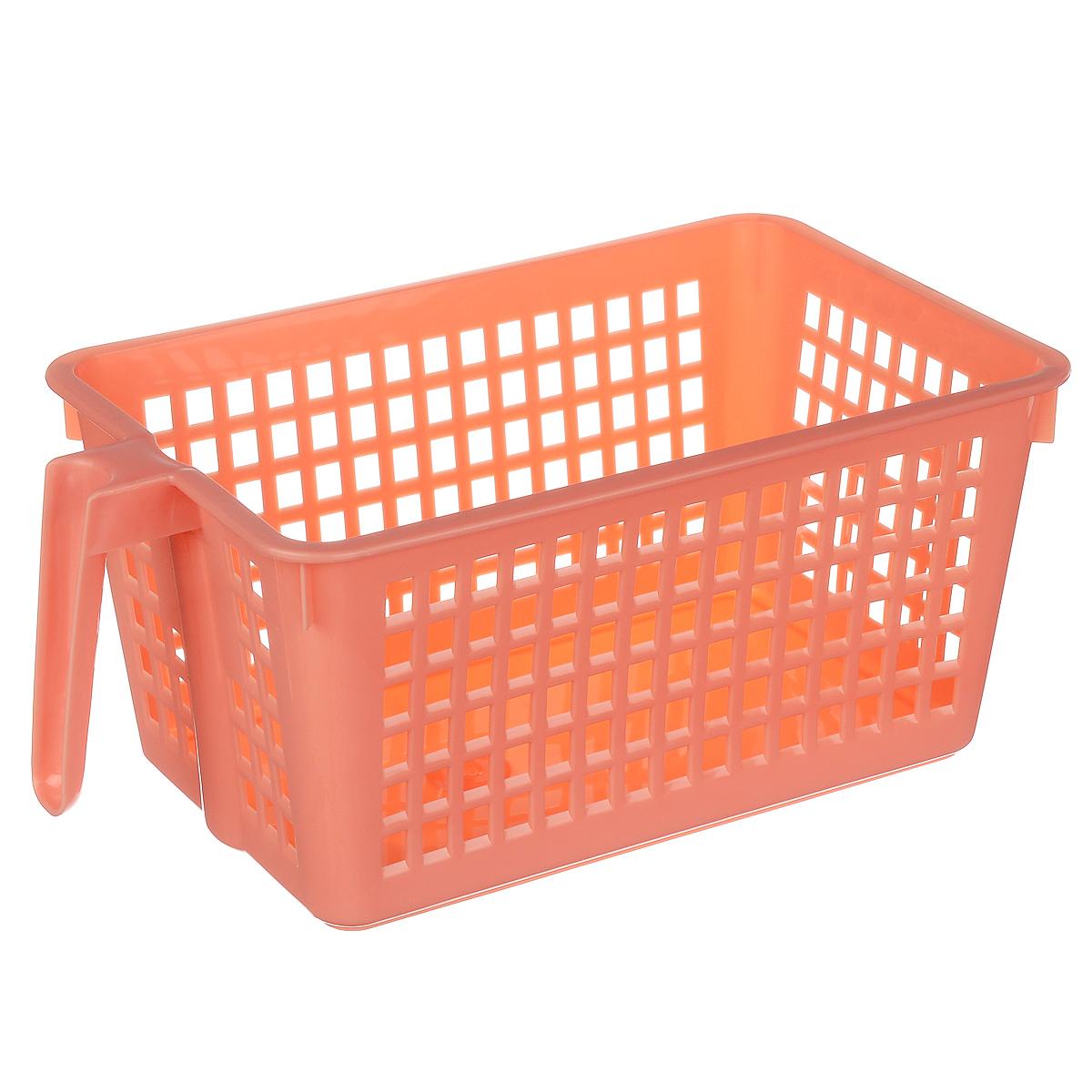Корзинка универсальная Econova, с ручкой, цвет: коралловый, 28 х 16 х 12 смС12568_коралловыйУниверсальная корзинка Econova изготовлена из высококачественного пластика и предназначена для хранения и транспортировки вещей. Корзинка подойдет как для пищевых продуктов, так и для ванных принадлежностей и различных мелочей. Изделие оснащено ручкой для более удобной транспортировки. Стенки корзинки оформлены перфорацией, что обеспечивает естественную вентиляцию. Универсальная корзинка Econova позволит вам хранить вещи компактно и с удобством.