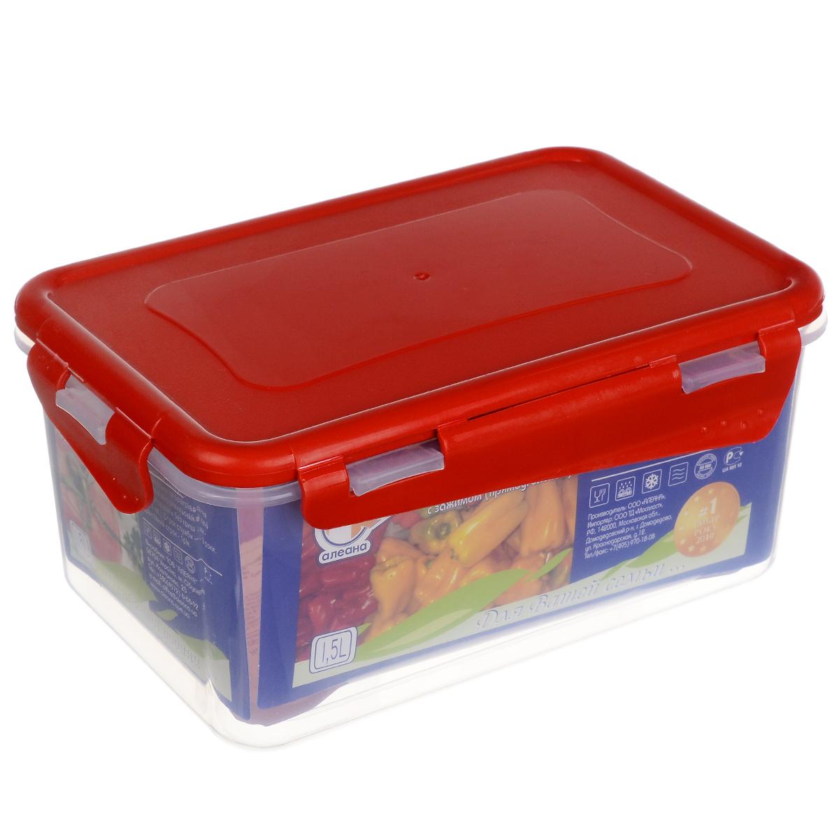 Контейнер Алеана, цвет: красный, прозрачный, 1,5 л167042 красныйКонтейнер Алеана прямоугольной формы, изготовленный из прочного полипропилена, предназначен специально для хранения пищевых продуктов. Крышка легко открывается и плотно закрывается, благодаря зажимам. Прозрачные стенки позволяют видеть содержимое. Контейнер устойчив к воздействию масел и жиров, легко моется. Контейнер имеет возможность хранения продуктов глубокой заморозки, обладает высокой прочностью. Можно мыть в посудомоечной машине. Подходит для использования в микроволновых печах.