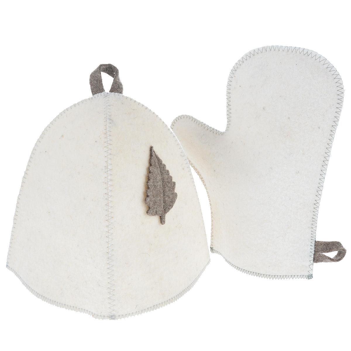 Набор для бани и сауны Главбаня, цвет: белый, бежевый, 2 предметаБ15 бежевый листНабор Главбаня, выполненный из войлока, состоит из шапки и рукавицы. Такой набор станет незаменимым и для любителей попариться в русской бани, и для тех, кто предпочитает сухой жар финской бани. Необычный дизайн изделий поможет сделать ваш отдых более приятным и разнообразным. Комплект станет отличным подарком для любителей отдыха в бане или сауне. Максимальный обхват головы (по основанию шапки): 70 см. Высота шапки: 23 см. Размер рукавицы (ДхШ): 28,5 см х 22,5 см.