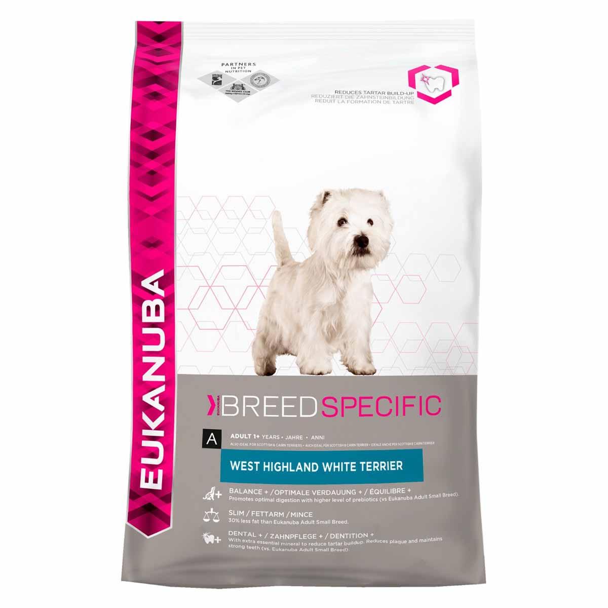 Корм сухой Eukanuba для взрослых собак породы вест-хайленд-уайт-терьер, 2,5 кг81077804Сухой корм Eukanuba является полноценным сбалансированным питанием, специально разработанным для взрослых собак породы вест-хайленд-уайт-терьер, а также подходящий для кормления собак пород скотч-терьеров, вельш-терьеров, керн-терьеров и цвергшнауцер. Вест-хайленд-уайт-терьер - дружелюбные отважные собаки, требующие постоянного внимания к себе. Для поддержания наилучшей формы нужно контролировать их вес. Для поддержания хорошего состояния кожи и зубов лучше использовать специальное питание. Не содержит искусственных красителей и ароматизаторов. Содержит разрешенные ЕС антиоксиданты (токоферолы). Корм Eukanuba заботится о здоровье вашего любимца. Особенности корма Eukanuba: - важный антиоксидант поддерживает естественную защиту организма вашего питомца; - пребиотики и пульпа сахарной свеклы способствуют поддержанию здорового пищеварения путем обеспечения нормального функционирования кишечника; - оптимальное соотношение...
