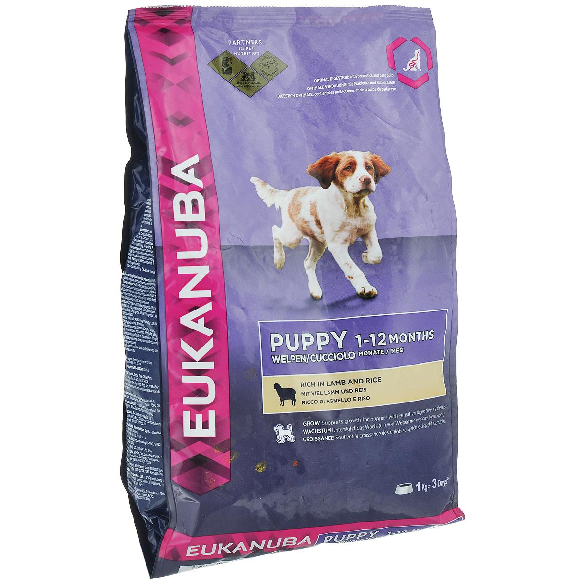 Корм сухой Eukanuba для щенков всех пород, с ягненком и рисом, 12 кг81377699Сухой корм Eukanuba является полноценным сбалансированным питанием для щенков всех пород. Корм Eukanuba заботится о здоровье вашего любимца. Особенности корма Eukanuba: - благодаря большому содержанию мяса ягненка содействует построению и сохранению мускулатуры для наилучшей физической формы; - важный антиоксидант поддерживает естественную защиту организма вашего щенка; - пребиотики и пульпа сахарной свеклы способствуют поддержанию здорового пищеварения путем обеспечения нормального функционирования кишечника; - оптимальное соотношение омега-6 и омега-3 жирных кислот помогает укреплять здоровье кожи и шерсти; - кальций способствует укреплению костей; - животные белки способствуют укреплению и поддержанию тонуса мышц; - ДГК стимулирует познавательность и обучаемость щенков. Сухой корм Eukanuba содержит только натуральные компоненты, которые необходимы для полноценного и здорового питания домашних животных. Корма от...