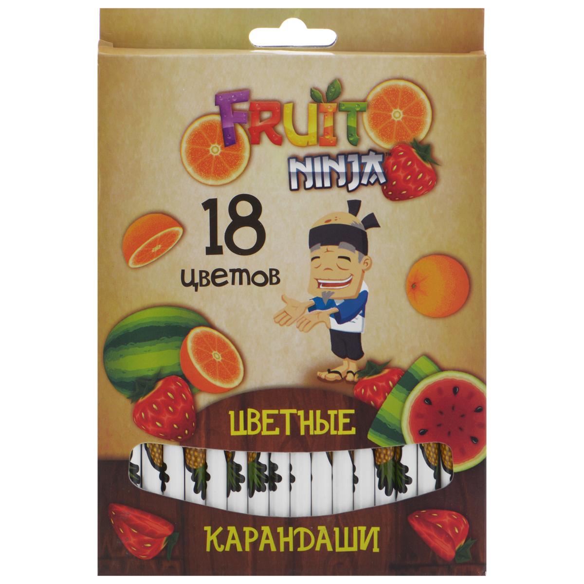 Цветные карандаши Action! Fruit Ninja, 18 цветовC37142_бежеваяЦветные карандаши Action! Fruit Ninja - идеальный инструмент для самовыражения и развития маленького художника! Корпус карандашей выполнен из высококачественной древесины и оформлен изображением сочных фруктов и логотипом игры Fruit Ninja. Карандаши обладают яркими насыщенными цветами, а мягкий грифель позволяет штрихам легко ложиться на бумагу. Они уже заточены, поэтому все, что нужно для рисования, - это взять чистый лист бумаги, и можно начинать! Комплект включает 18 карандашей разных цветов, упакованных в коробку, украшенную изображением фруктов и героя игры Fruit Ninja.