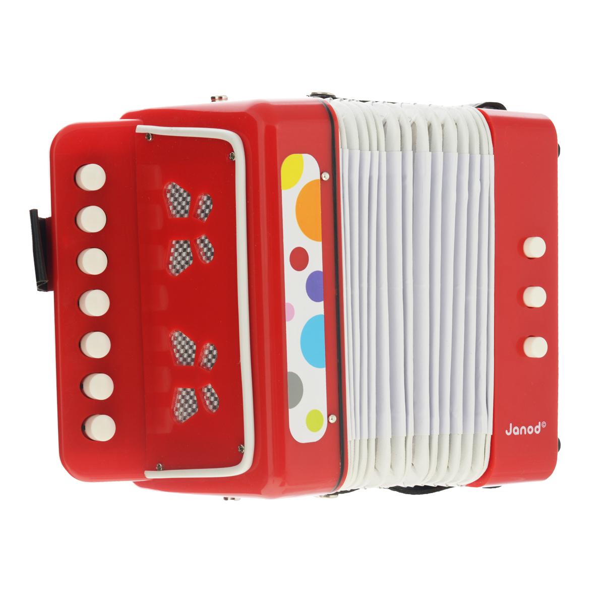 Музыкальная игрушка Janod АккордеонJ07620Музыкальная игрушка Janod Аккордеон не позволит скучать вашему малышу. Он выполнен из дерева и окрашен в яркие цвета с применением безопасных для здоровья детей красок. Аккордеон выглядит и звучит совсем как настоящий. Он оснащен 7 кнопками, при нажатии на которые инструмент издает звуки различной высоты, а также 2 кнопками изменения тональности. Яркая расцветка аккордеона привлечет внимание и поднимет настроение малыша. Это яркая и веселая игрушка, с помощью которой вы сможете привить ребенку любовь к музыке. Музыкальная игрушка Janod Аккордеон поможет развить слух, чувство ритма и музыкальные способности малыша, и он порадует вас веселым концертом!