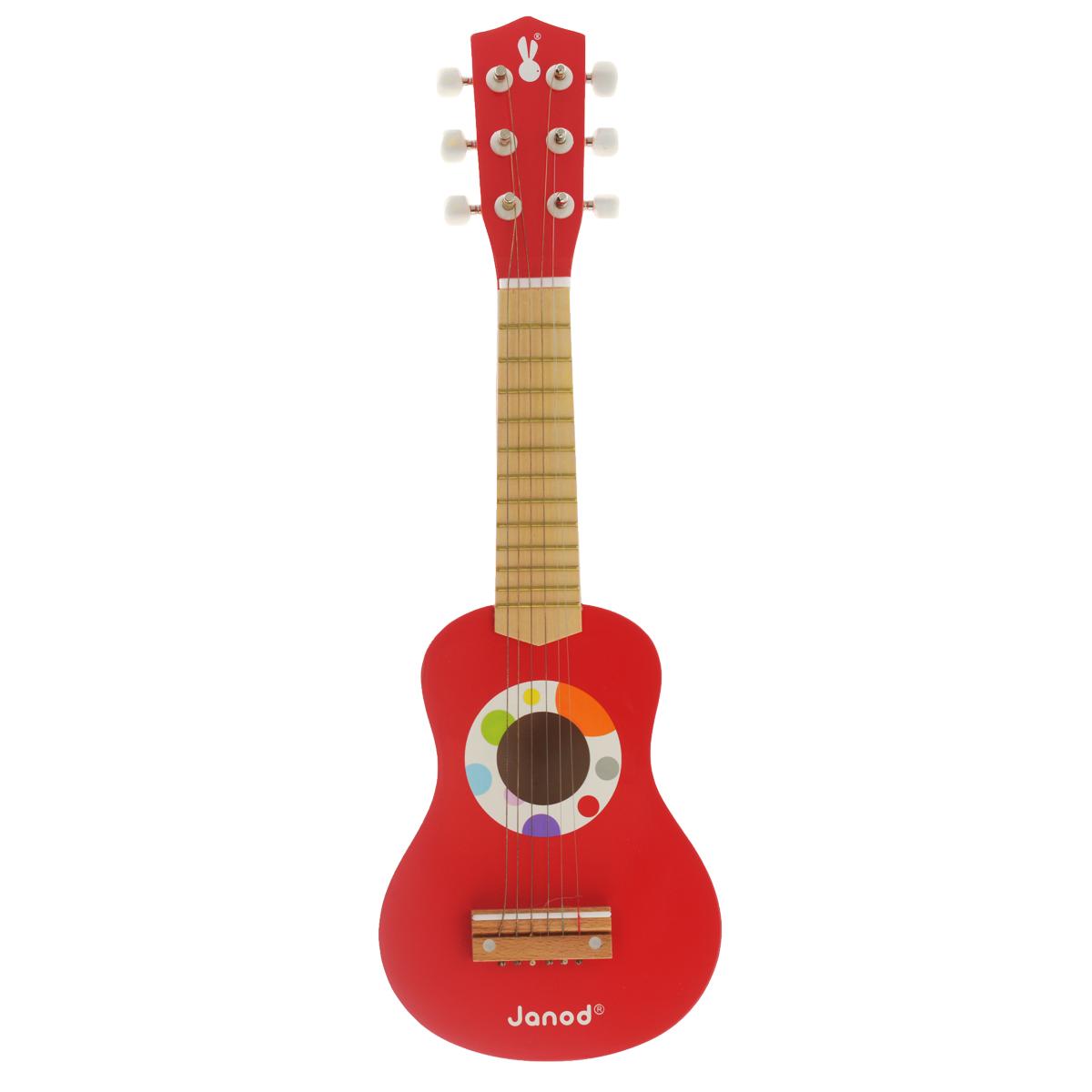Музыкальная игрушка Janod ГитараJ07628Музыкальная игрушка Janod Гитара не позволит скучать вашему малышу. Она выполнена из дерева и окрашена в яркие цвета с применением безопасных для здоровья детей красок. Деревянная детская гитара - игрушка, разработанная самыми лучшими французскими дизайнерами, имеет очень приятную и гладкую поверхность. Гитара имеет настоящие колки и 6 струн, поэтому прекрасно держит лад и хорошо звучит, а при необходимости ее можно настраивать. Яркая расцветка гитары привлечет внимание и поднимет настроение малыша. Это яркая и веселая игрушка, с помощью которой вы сможете привить ребенку любовь к музыке. Музыкальная игрушка Janod Гитара поможет развить слух, чувство ритма и музыкальные способности малыша, и он порадует вас веселым концертом!