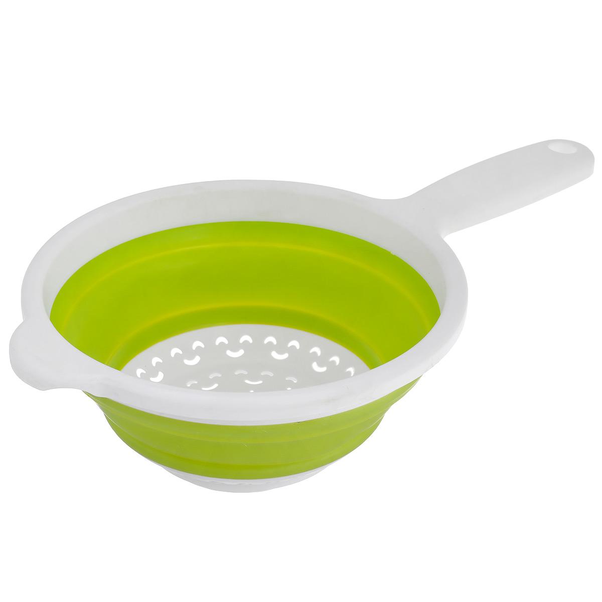 Дуршлаг складной Neo Way, цвет: белый, салатовый, диаметр 20 см9046_белый, салатовыйСкладной дуршлаг Neo Way станет полезным приобретением для вашей кухни. Он изготовлен из высококачественного пищевого силикона и пластика. Дуршлаг оснащен удобной эргономичной ручкой со специальным отверстием для подвешивания. Изделие прекрасно подходит для процеживания, ополаскивания и стекания макарон, овощей, фруктов. Дуршлаг компактно складывается, что делает его удобным для хранения. Можно мыть в посудомоечной машине. Диаметр (по верхнему краю): 20 см. Максимальная высота: 8,5 см. Минимальная высота: 3 см.