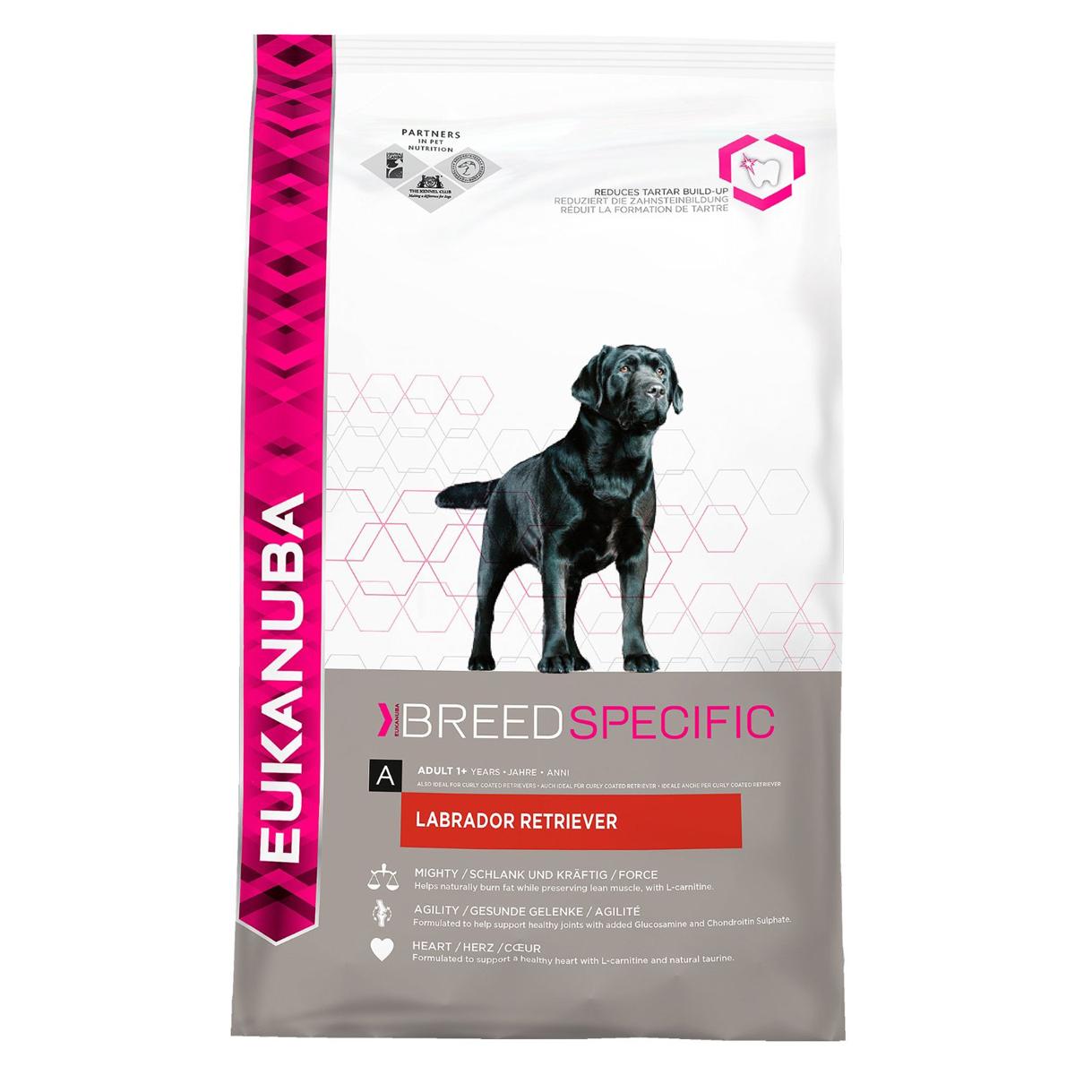 Корм сухой Eukanuba для взрослых собак породы лабрадор ретривер, 12 кг81077791Полноценный сбалансированный корм, специально разработанный для взрослых собак породы лабрадор-ретривер, а также подходящий для кормления собак пород курчавошерстного и чесалик бэй ретриверов. Не содержит искусственных красителей и ароматизаторов. Содержит разрешенные ЕС антиоксиданты (токоферолы). Состав: сублимированное мясо курицы и индейки (23%, натуральный источник таурина), кукуруза, пшеница, сорго, ячмень, животный жир, сухая пульпа сахарной свеклы 2,8%, гидролизат белков животного происхождения, сухое цельное яйцо, хлорид калия, рыбий жир, карбонат кальция, хлорид натрия, гексаметафосфат натрия, фруктоолигосахариды 0,28%, льняное семя, глюкозамин 432 мг/кг, хондроитина сульфат 43 мг/кг. Добавки: витамин A 45551 МЕ/кг, витамин D3 1512 МЕ/кг, витамин E 253 мг/кг, L-карнитин 48,1 мг/кг, бета-каротин 5,0 мг/кг. Микроэлементы: базовый карбонат кобальта моногидрат 0,59 мг/кг, пентагидрат сульфат меди 56 мг/кг, йодид калия 4,0 мг/кг, моногидрат...